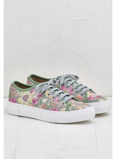 Elle Çiçekli Sneaker Ayakkabı Yeşil